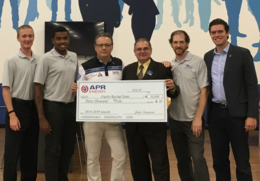 APR Energy and the John and Suzanne Campion Family Foundation  Donate $30,000 to the UNF Osprey Racing Team